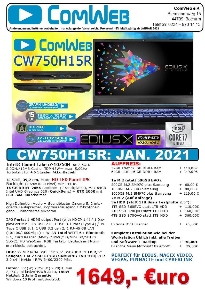 ComWeb Notebook CW-750H15R