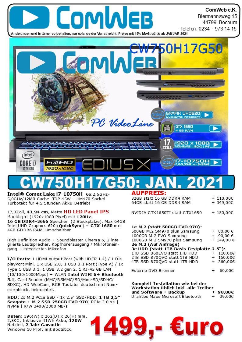 ComWeb Notebook CW-750H17G50