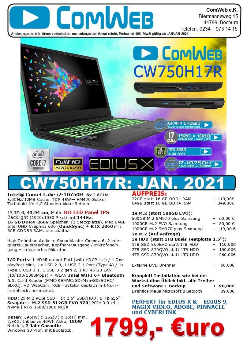 ComWeb Notebook CW-750H17R