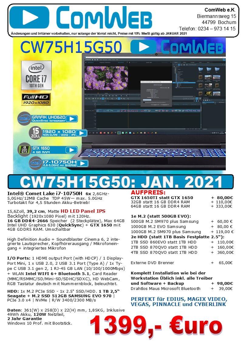 ComWeb Notebook CW-75H15G50