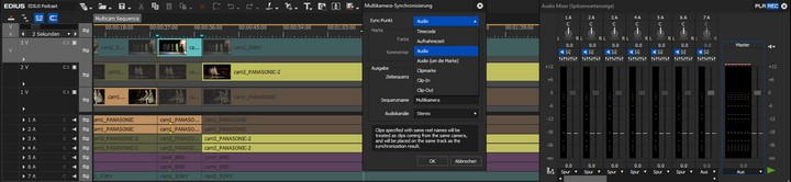 Multicam Audio Sync mit EDIUS 9.50